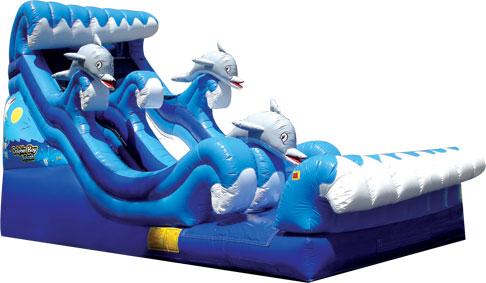 dolphin splash water slide 16u0027w x 35u0027l x 22h with splash zone pools - Blow Up Water Slides